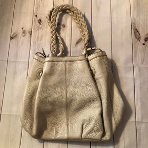 Ann Taylor Cream Leather Bucket Drawstring Purse